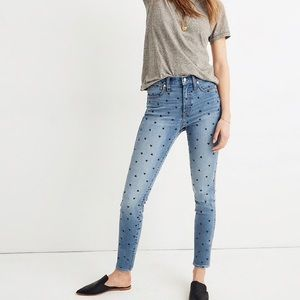 Madewell high rise skinny HEARTS jeans